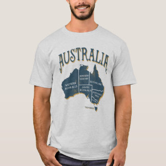 Vintage Look Australia States Map T-Shirt
