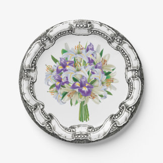 Vintage Look Bouquet Purple Iris and Lilies 7 Inch Paper Plate