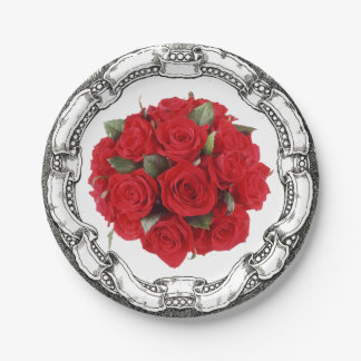 Vintage Look Bouquet Red Roses 7 Inch Paper Plate