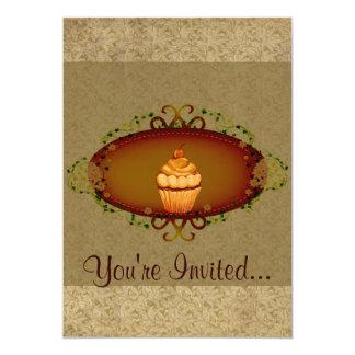 Vintage Look Cupcake Birthday 13 Cm X 18 Cm Invitation Card