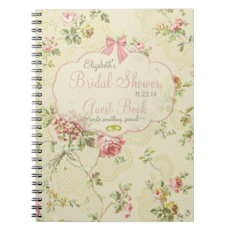 Vintage Looking Floral Bridal Shower Guest Book- Spiral Notebook