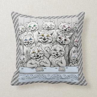 Vintage Louis Wain Cats Theatre Paw Prints Cushion