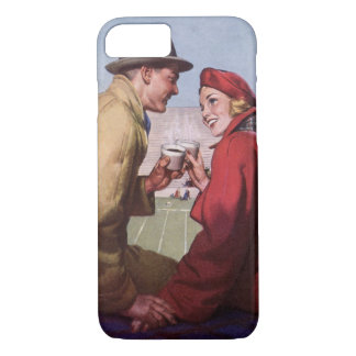 Vintage Love and Romance, Couple at Football Game iPhone 7 Case