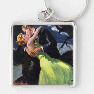 Vintage Love and Romance, Romantic Kiss Silver-Colored Square Key Ring