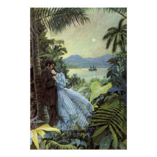 Vintage Love and Romance, Romantic Tropical View Poster