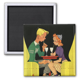 Vintage Love and Romance, Teens at the Soda Shop Square Magnet