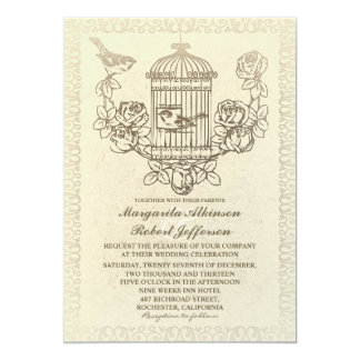 vintage love birds cage wedding invitations