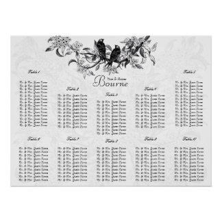 Vintage Love Birds Wedding Guest Seating Chart Poster