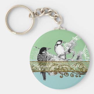 Vintage Love Birds Wedding Invitation Key Ring