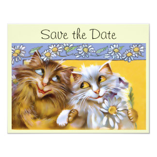 "Vintage Love Cat Art Save The Date Card 4.25"" X 5.5"" Invitation Card"