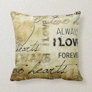 vintage love heart art throw pillow