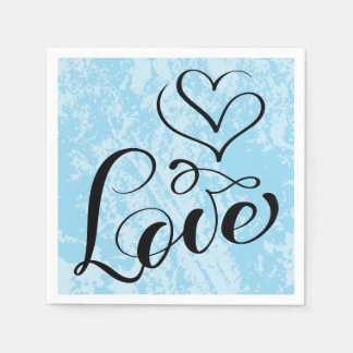 Vintage Love Hearts Distressed Blue Wedding Party Disposable Serviette