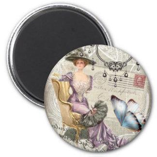 vintage love letter Vintage Paris Lady Fashion 6 Cm Round Magnet