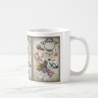 vintage love letter Vintage Paris Lady Fashion Basic White Mug