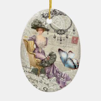 vintage love letter Vintage Paris Lady Fashion Ceramic Oval Decoration