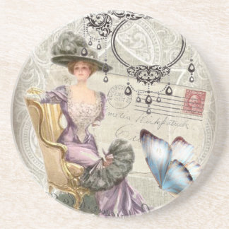 vintage love letter Vintage Paris Lady Fashion Drink Coasters