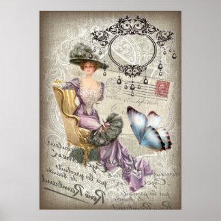 vintage love letter Vintage Paris Lady Fashion Poster