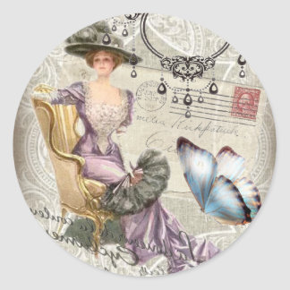 vintage love letter Vintage Paris Lady Fashion Round Sticker