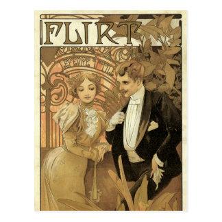 Vintage Love Romance Art Nouveau Alphonse Mucha Post Card