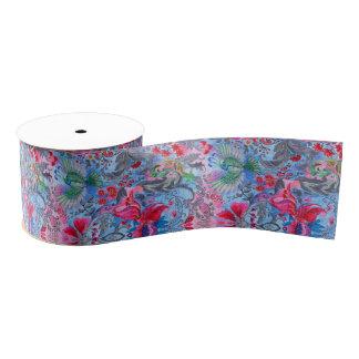 Vintage luxury floral garden blue bird lux pattern grosgrain ribbon