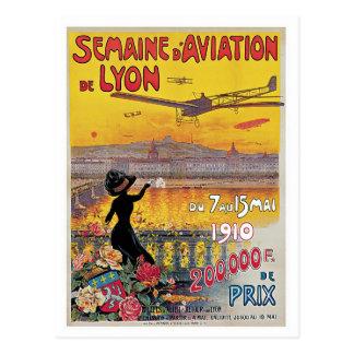 Vintage Lyon Aviation Week Travel Ad Post Card