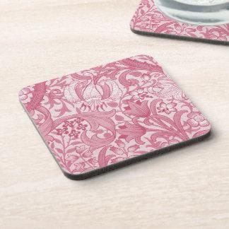 Vintage Magenta Swirls, Florals and Leaves Pattern Coaster