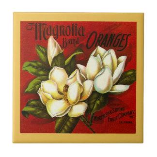Vintage Magnolia Citrus Orange Crate label Tile