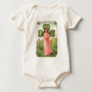 Vintage Maid of Erin St Patrick's Day Card Baby Bodysuit