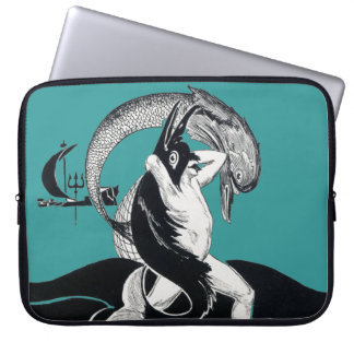 Vintage Man Battle Sea Urchin Monster Mythology Laptop Sleeve