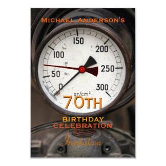 Vintage Manometer 70th Birthday Celebration 9 Cm X 13 Cm Invitation Card