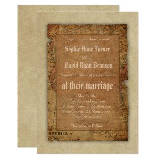 Vintage Map Destination Wedding Invitation