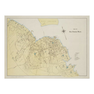 Vintage Map of Bar Harbor Maine (1897) Posters
