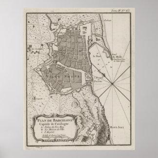 Vintage Map of Barcelona Spain (1764) Poster