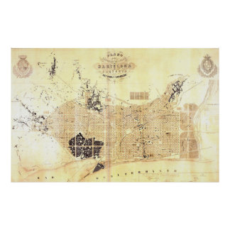 Vintage Map of Barcelona Spain (1859) Poster
