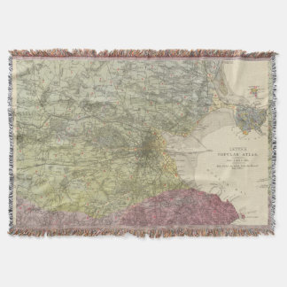 Vintage Map of Dublin Ireland (1883) Throw Blanket