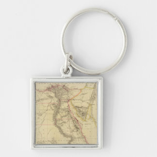 Vintage Map of Egypt (1832) Silver-Colored Square Key Ring