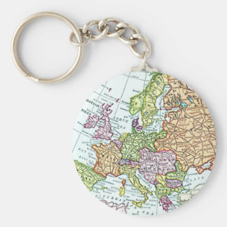 Vintage map of Europe colorful pastels Basic Round Button Key Ring