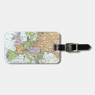 Vintage map of Europe colourful pastels Bag Tag