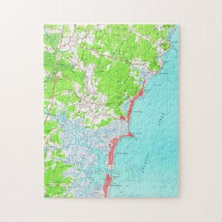 Vintage Map of Hampton Beach New Hampshire (1957) Jigsaw Puzzle