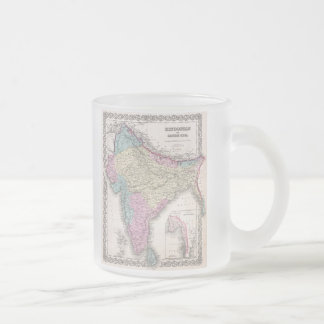 Vintage Map of India (1855) Frosted Glass Coffee Mug