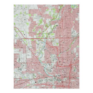 Vintage Map of Indianapolis Indiana (1967) Poster
