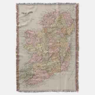 Vintage Map of Ireland (1883) Throw Blanket
