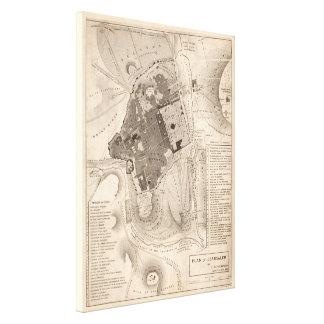 Vintage Map of Jerusalem Israel (1835) Canvas Print