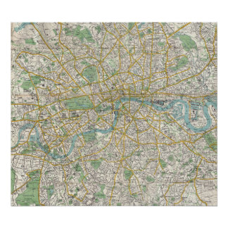 Vintage Map of London England (1900) Poster