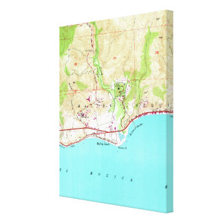 Vintage Map of Malibu California (1950) Canvas Print