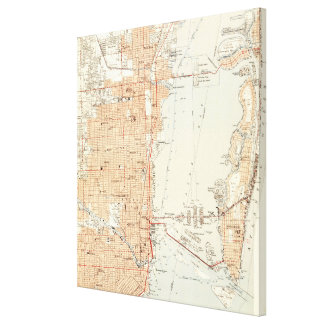 Vintage Map of Miami Florida (1950) Canvas Print