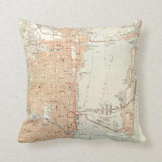 Vintage Map of Miami Florida (1950) Cushion