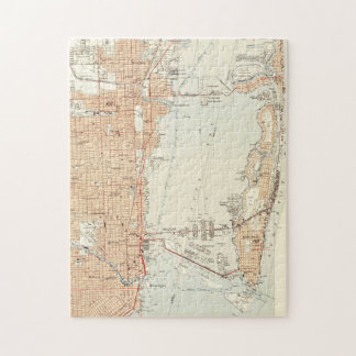 Vintage Map of Miami Florida (1950) Jigsaw Puzzle