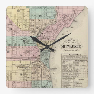 Vintage Map of Milwaukee Wisconsin (1878) Square Wall Clock