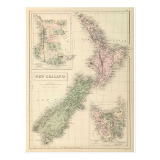 Vintage Map of New Zealand (1854) Postcard